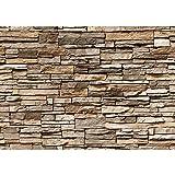 Non-woven photo wallpaper 400x280 cm PREMIUM PLUS Wall Mural Photo Wallpaper Picture - ASIAN STONE WALL - BROWN - Wall Picture Stone Wall Effect Wallpaper Asia Stone - no. 128