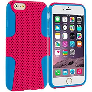good case Baby Blue / Hot Pink Hybrid 2-Piece Mesh Rugged Hard Silicone Soft Rubber Case Cover Accessory for Apple iphone 6 plusd 5.5