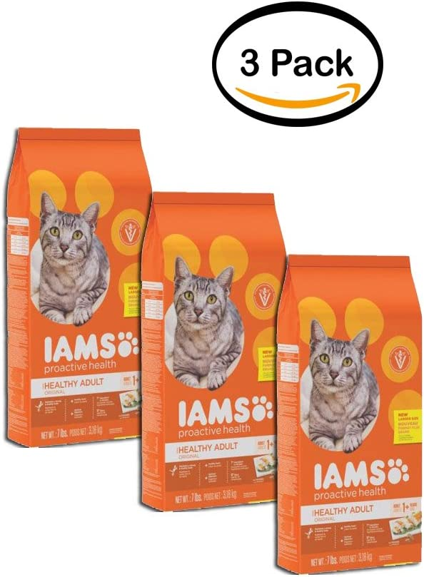 Iams Pack of 3 Proactive Health Healthy Adult Original Cat Food with Chicken, 7 lb