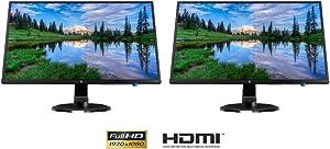 Hewlett Packard (3UA73AA#ABA) 24yh 23.8 FHD LED Backlit 1920 x 1080 IPS Dual Monitor Bundle