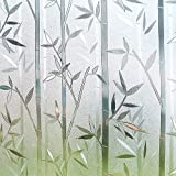 Rabbitgoo Window Film 3D No Glue Static Cling Film Privacy Glass Film Bamboo Frosted Window Films 35.4in. By 78.7in. (90cm By 200cm)