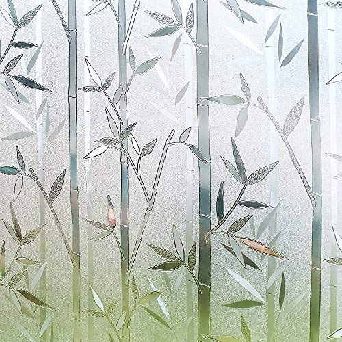 RABBITGOO Bamboo Frosted Window Films Privacy Static Cling Vinyl Decorative Glass Film 23.6in. by 78.7in. (60cm x 200cm) for Bathroom ()