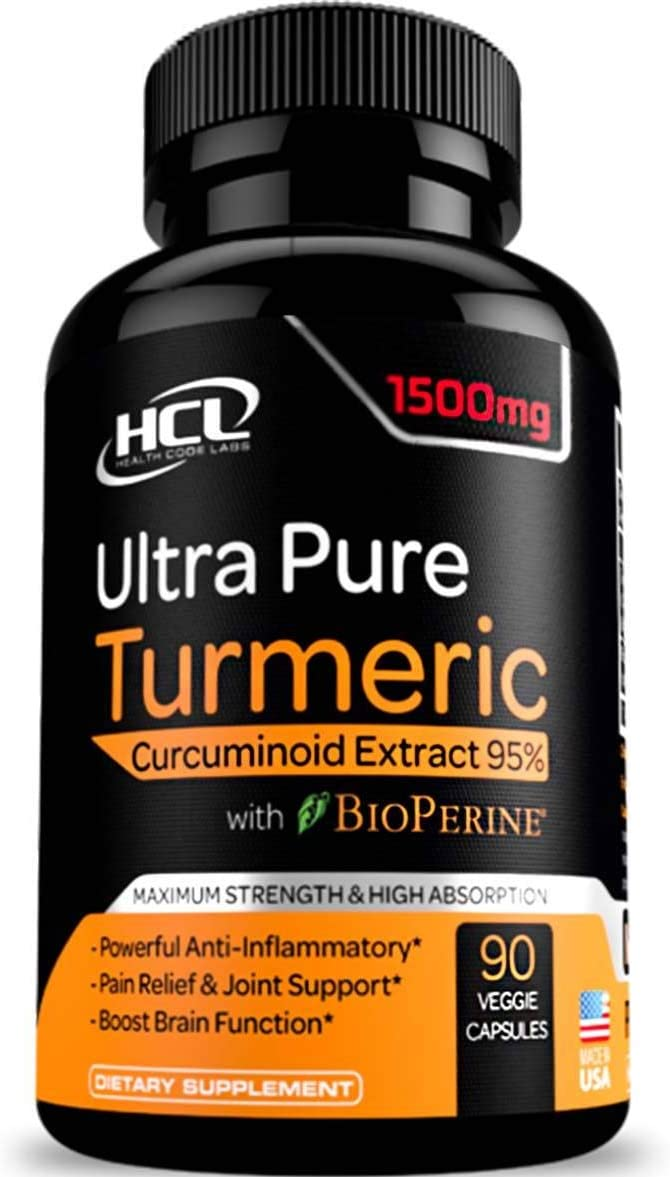 Turmeric Curcumin Supplement 19X Stronger -1500 mg of 95 Curcuminoids Extract Capsules – Pure Turmeric with BioPerine Ginger Cinnamon Best Anti-Inflammatory Joint Support Antioxidant Powder Pills