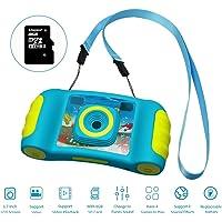 Hootracker Fotocamera Digitale per Bambini,1,7 Pollici HD Bambini Fotocamera Digitale Fotocamera, Fotocamera con Zoom 4 x, Regalo di Compleanno e Giocattoli per Bambini,Blu