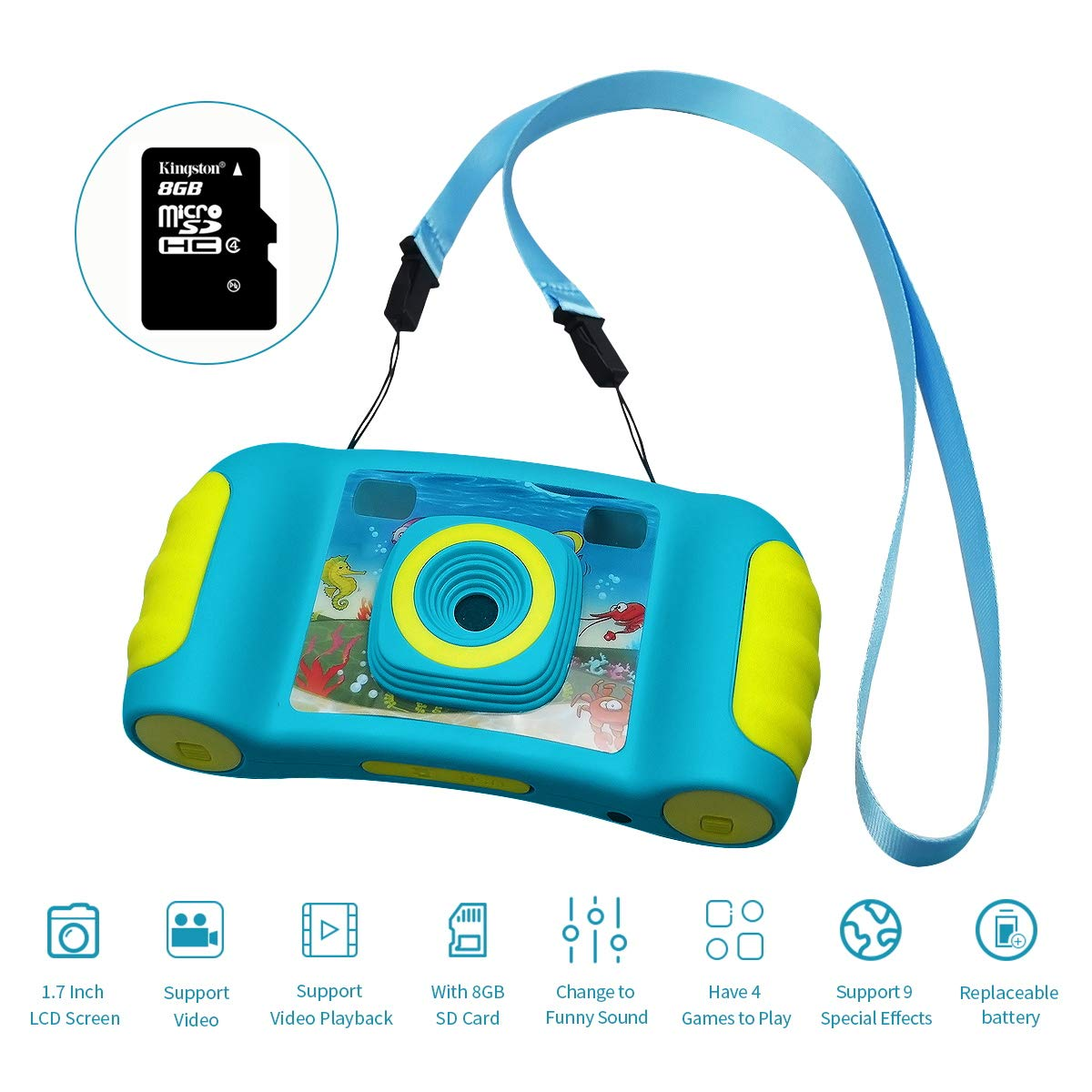 HankeRobotics Kids Digital Camera, with 8GB Micro SD Card, Kids Digital Photo/Video Camera with 4X Zoom, 1.7 Inch Screen Screen Action Camera Camcorder for Children Boys Girls Birthday Gift,Blue