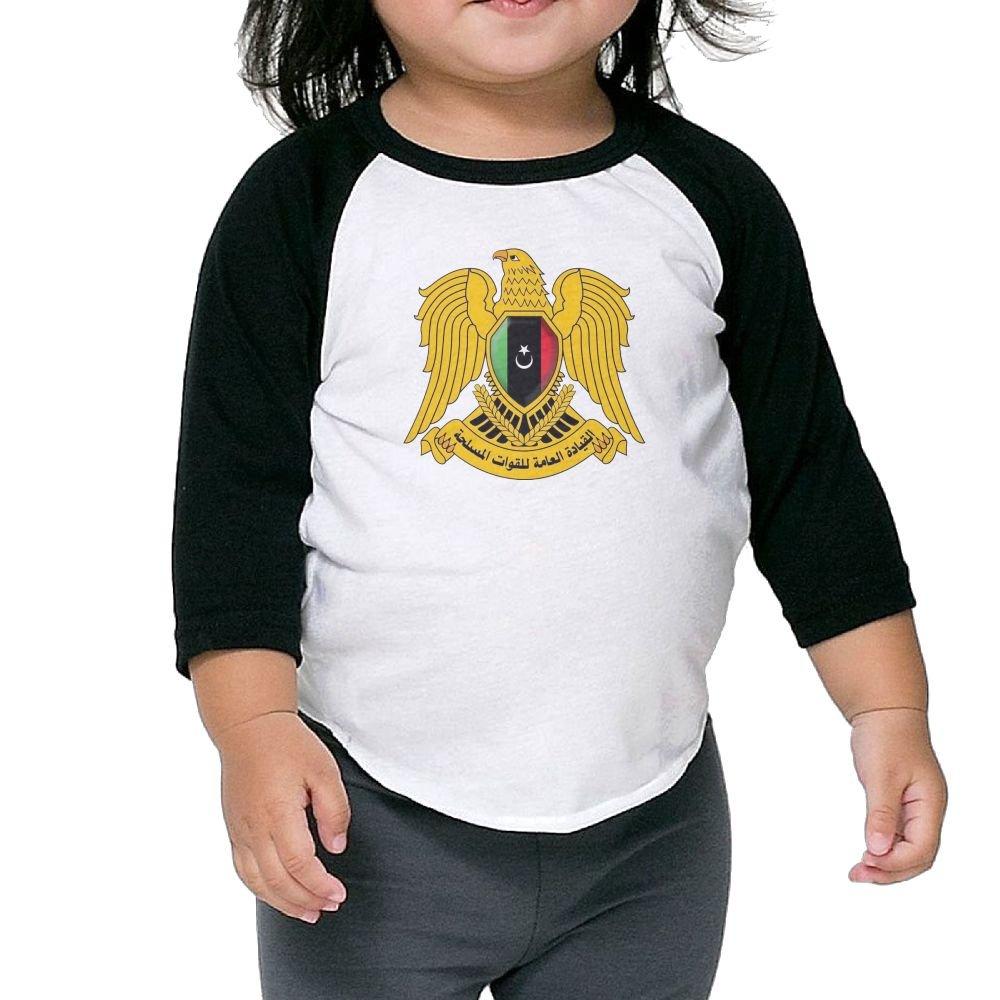 Coat of Arms Libya Kids Raglan T Shirts Baseball 3//4 Sleeves for Boys Girls