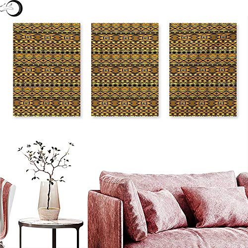 Mannwarehouse Tribal Landscape Canvas Geometric Pattern with African Ethnic Origins Exotic Folk Influences Triptych Wall Art Amber Yellow and Black W 24