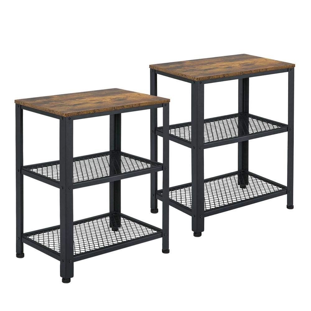 Yaheetech Set of 2 Side Tables Nightstand, Industrial End Table with Mesh Shelves, Accent Furniture for Living Room, Bedroom by Yaheetech