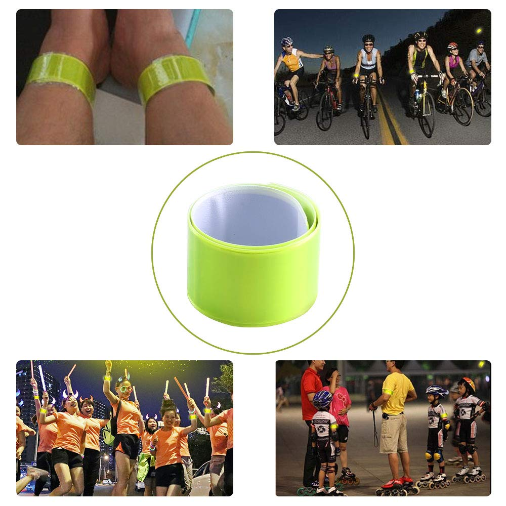 10 Pcs Cycling Jogging KINDPMA Reflective Armbands High Visibility Reflector Slap Bands Snap Bands Safety Strips Hi Vis Ankle Bands Wearable Bands Wristband for Children Adults Running