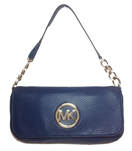 Michael Kors Fulton Leather Small Chain Shoulder Flap Bag, Navy ...
