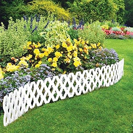 lattice fence 4 pc outdoor flexible weatherproof plastic garden edging border white - Plastic Garden Edging