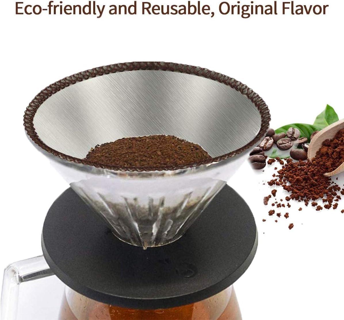 de 2 a 6 tazas para tazas 2 a 6 tazas jarras tazas con forma de cono de goteo sin papel de acero inoxidable soportes de filtro Filtro de caf/é reutilizable