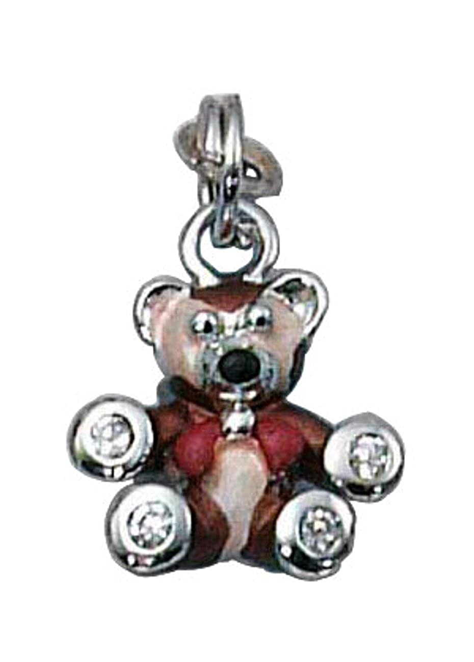 Sterling Silver Girls .8mm Box Chain 3D Enameled Little Brown Bear Cubic Zirconia Paws Pendant Necklace