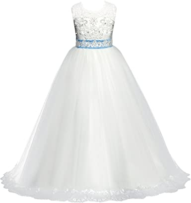 Luxury  Sequined Flower Girl Wedding Bowknot Ball Gown Princess Evening Dress