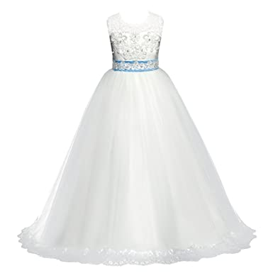 IBTOM CASTLE Girls Dress Sequin Mesh Party Wedding Princess Tulle White 3-4 Years