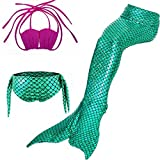 Lonchee Girl's 3pcs Mermaid Tail Swimmable Princess Bikini Set Costume Swimsuit Can Match Monofin for Swimming cospay