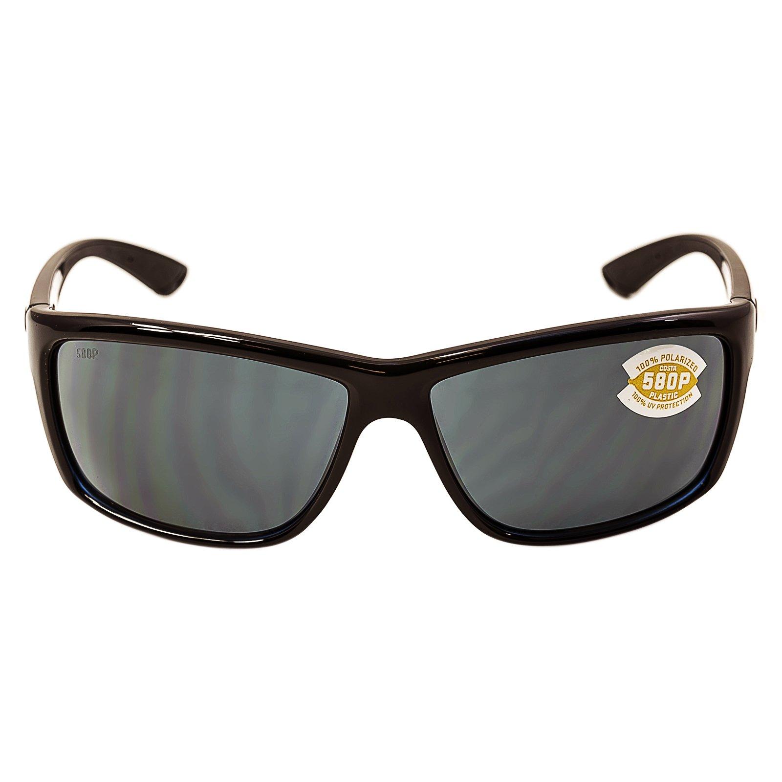 Costa Del Mar Mag Bay Sunglasses, Shiny Black, Gray 580P Lens
