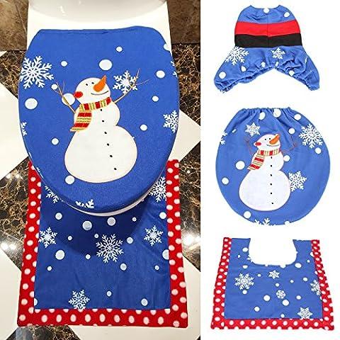 Dromedary Holiday Atmosphere Snow Man Toilet Seat Cover and Rug Set 3pcs (Men Bathroom Rug Set)