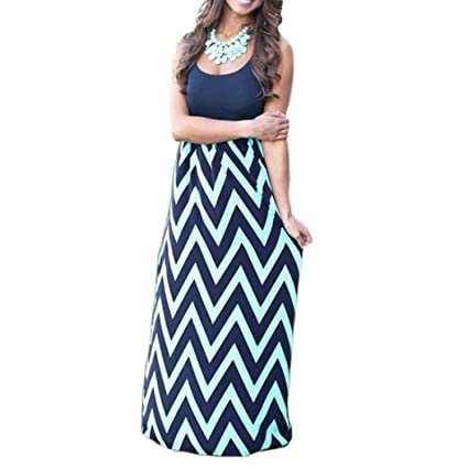 d9685ee909 Image Unavailable. Image not available for. Color: Fheaven Womens Long  Striped Boho Dress Lady Beach Summer Sundress Maxi Dress - Plus Size (