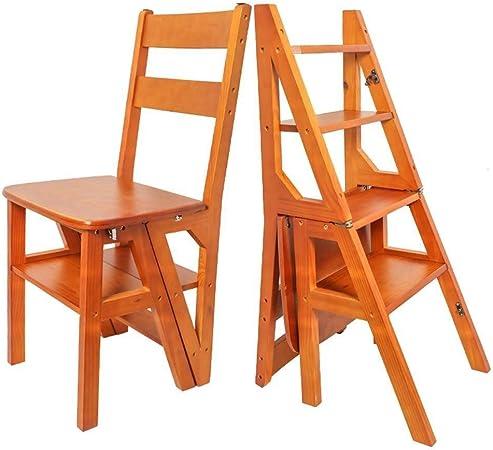 ChenXiDian-Super fuerte Silla de escalera Transformación Silla plegable de 4 peldaños Escalera de mano portátil Inicio Escalera de madera for adultos y niños Cocina multiusos Biblioteca Jardín Herrami: Amazon.es: Hogar