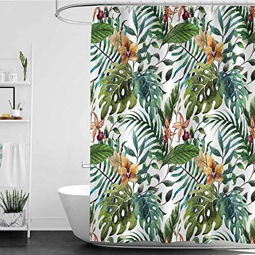 Shower stall Curtains,Leaf Vintage Retro 60s Seem Banana Palm Tree Leaves Flowers Hibiscus,Fabric Shower Curtain Bathroom,W72x72L Light Caramel Burgundy and Green