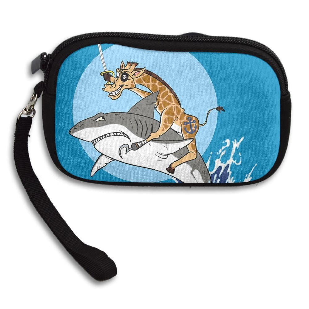 Pirate Giraffe Riding Shark Jumping From Water Deluxe Printing Small Purse Portable Receiving Bag