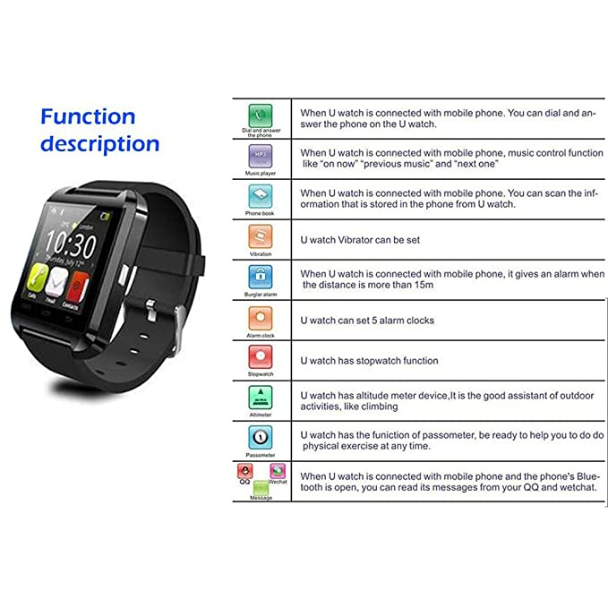 Houzon U8 - SmartWatch Bluetooth V3.0 (EDR, pantalla táctil, Android) color negro