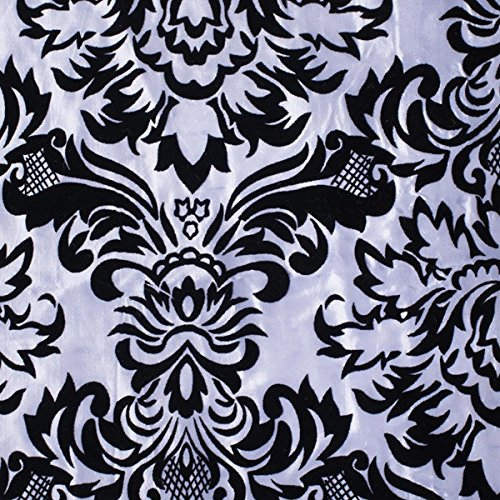 Black Filigree Pattern on White, Flocked Fabric, 57