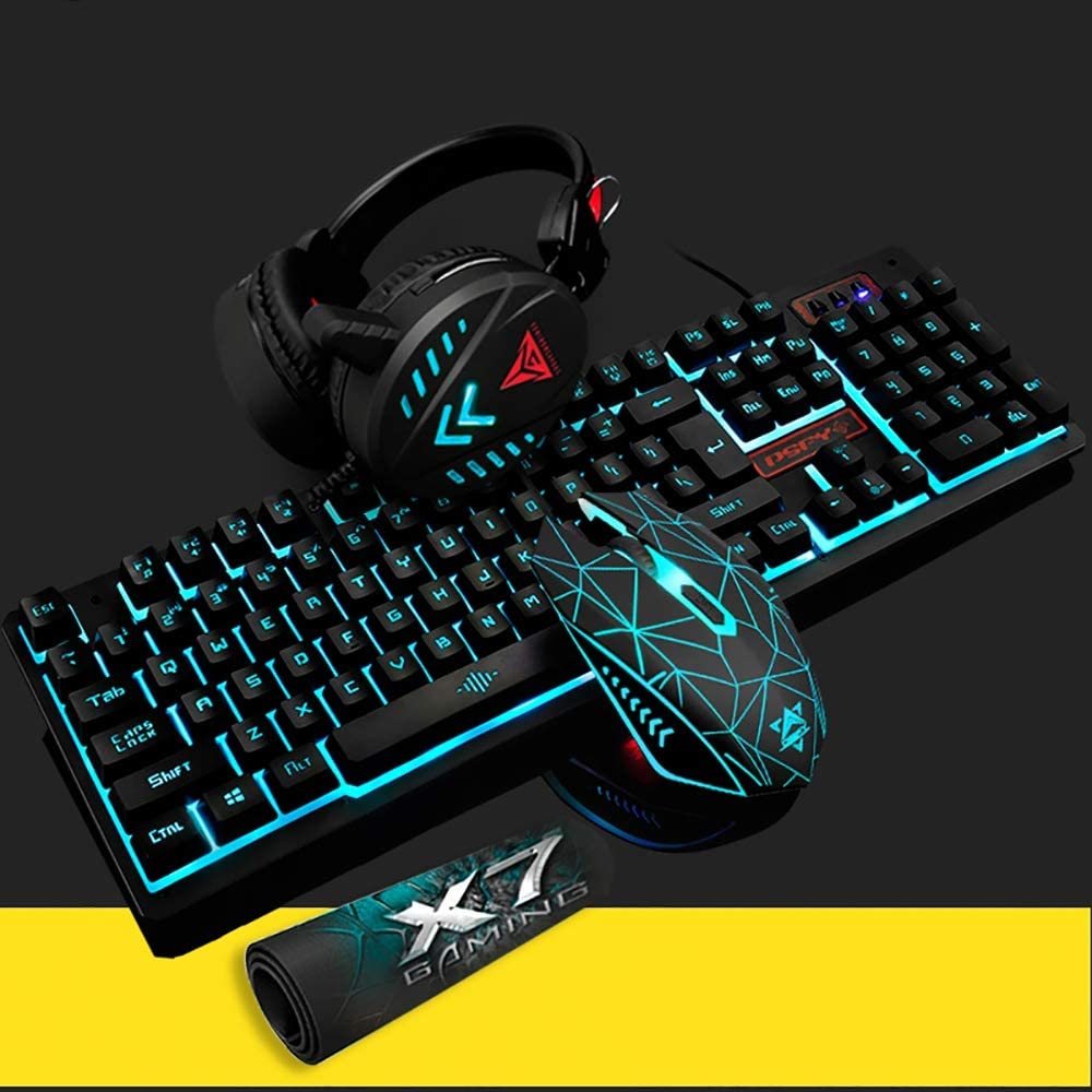 Universal USB Keyboard And Mouse and Headset Set With LED Light