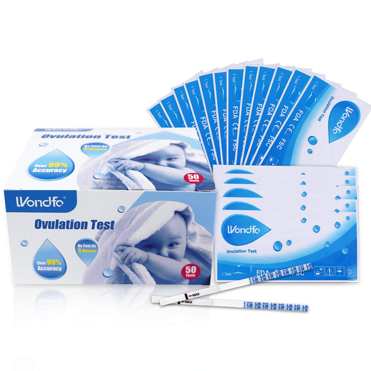 Wondfo Ovulation Strips Ultra Early Result Detection Kits Highly Sensitive Fast Home Self-Checking, Pack of 50 by Wondfo