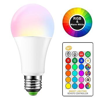 E27 RGB LED Cambio de color Lámpara 15 W bombillas de colores con mando a distancia ...