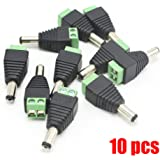 Xenocam 10 Pack 2.1mm x 5.5mm Male CCTV Camera DC Power Adapter