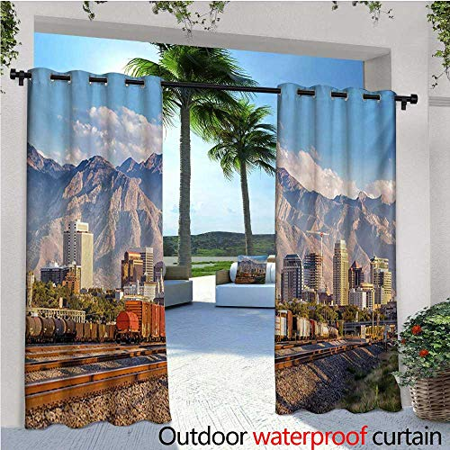 - Landscape Outdoor- Free Standing Outdoor Privacy Curtain Downtown Salt Lake City Skyline in Utah USA Railroads Mountains Buildings Urban for Front Porch Covered Patio Gazebo Dock Beach Home W120 x L