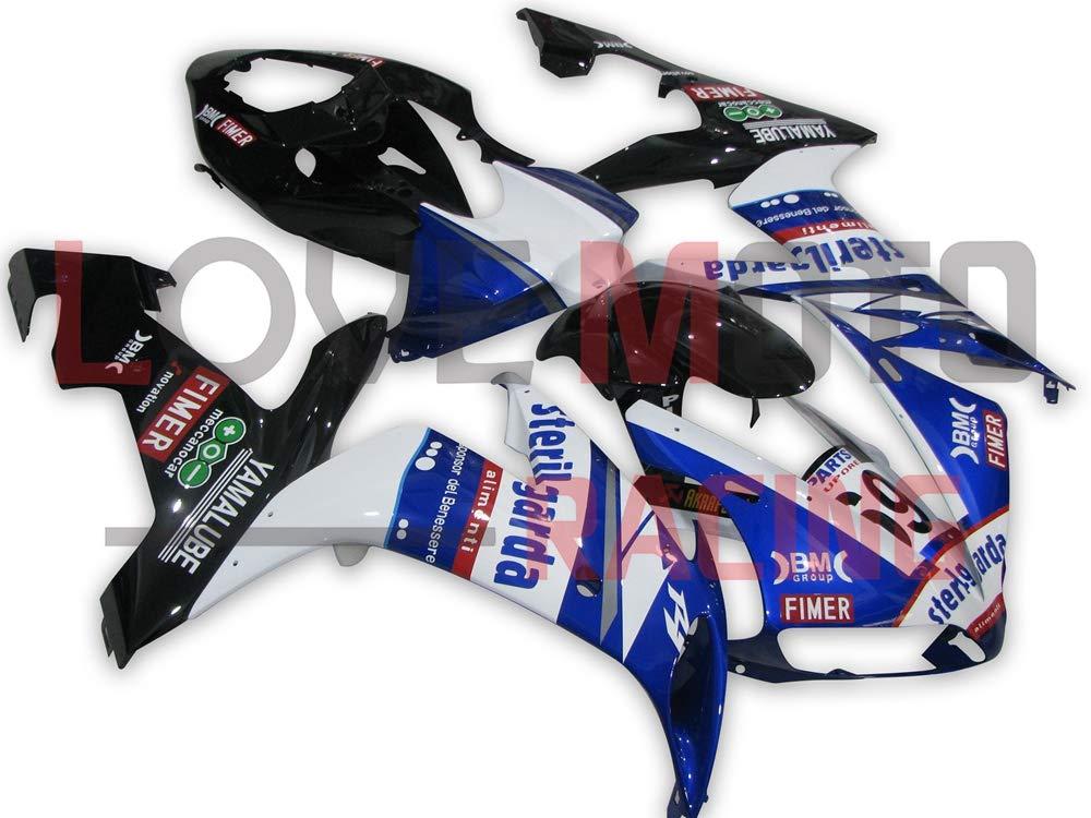 LoveMoto ブルー/イエローフェアリング ヤマハ yamaha YZF-1000 R1 2004 2005 2006 04 05 06 YZF 1000 ABS射出成型プラスチックオートバイフェアリングセットのキット ブルー ブラック   B07KKC2WTT