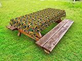 Ambesonne Kente Pattern Outdoor Tablecloth, National Ethnic Pattern with Vintage Effect and Lively Colored Triangles, Decorative Washable Picnic Table Cloth, 58 X 84 inches, Multicolor