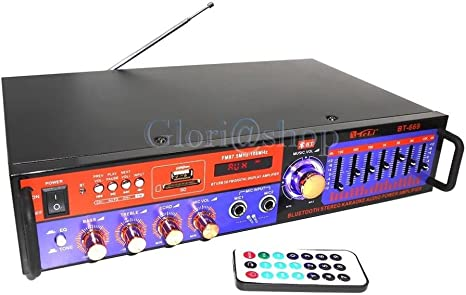 Amplificador Audio Ecualizador estéreo Bluetooth Karaoke Radio FM ...