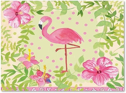 Global Gallery Farida Zaman Flamingo Dance IV Giclee Stretched Canvas Artwork 18 x 18