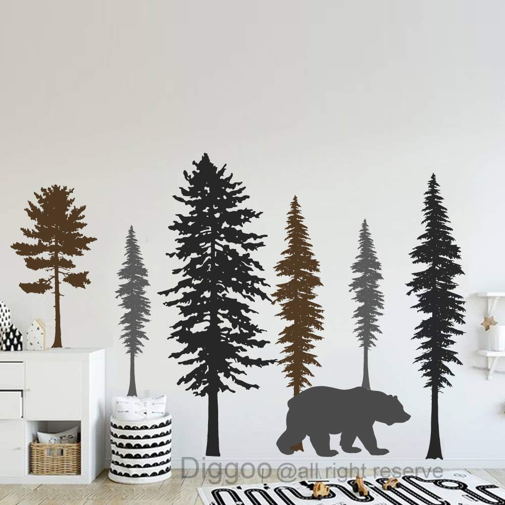 Woodland Wall Decal Bear and Pine Tree Forest Wall Decals Kids Room Wall Art Woodland Nursery Decor (Black+Dark Brown+Dark Gray,50'' h x 74'' w) by Diggoo