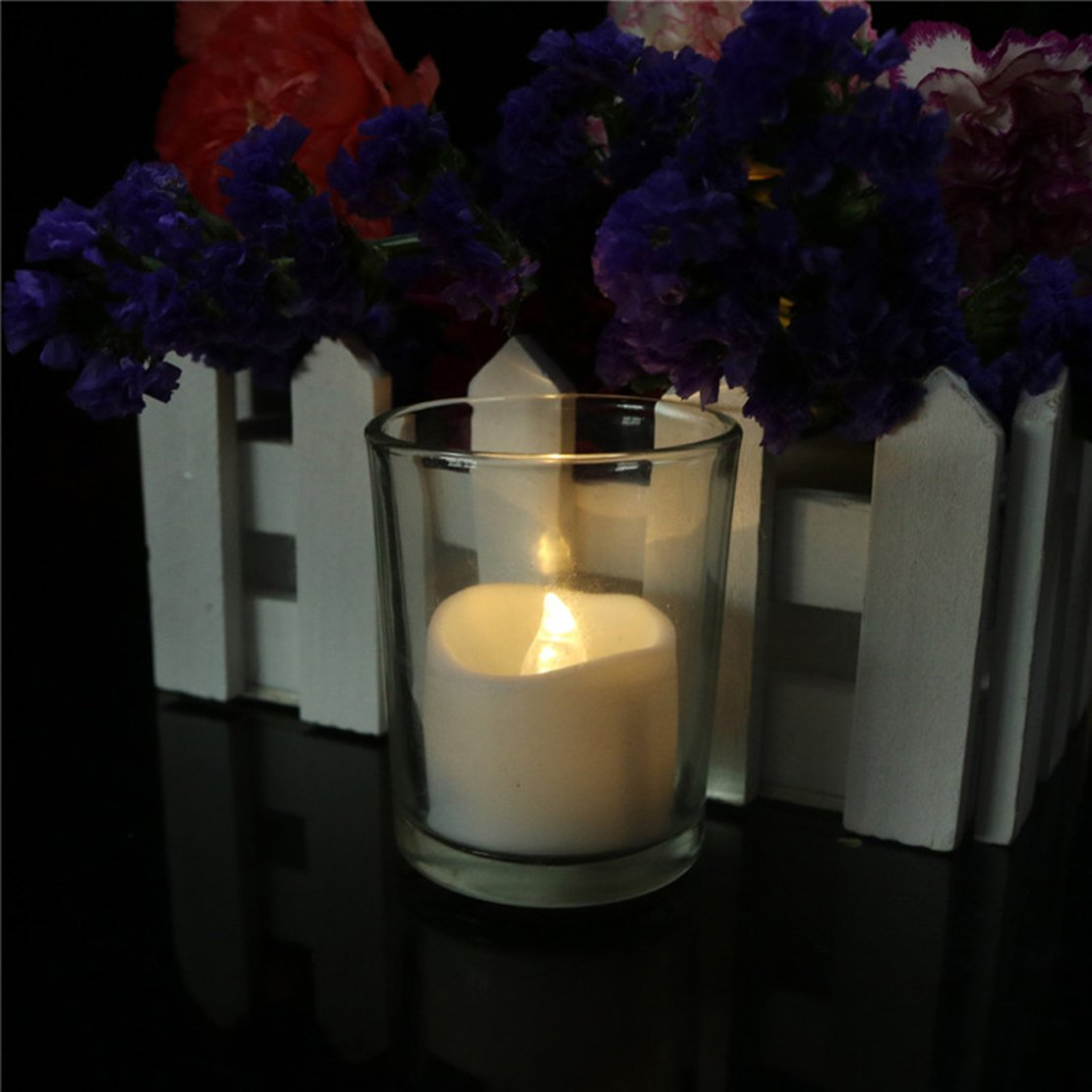 200 Hours Led Mini Tea Light with Timer (6 Hrs On 18 Hrs Off) Flameless Warm White Flickering Fake Votive Candle Wavy Open Rustic Long Lasting Electric Timed Tealights Party Home Wedding Decor 96 PCS by Beauty Collector (Image #3)