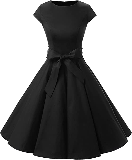 TALLA L. Dressystar Vintage 1950s Polka Dot and Solid Color Prom Dresses Cap-Sleeve Black L