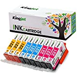 Kingjet Compatible Ink Cartridge Replacement for CLI-221 Work with Pixma IP3600 IP4600 IP4700 MX860 MX870 MP560 MP620 MP620B MP640 MP980 MP990, 9 Pack, (CLI221 Ink: 3C 3M 3Y)