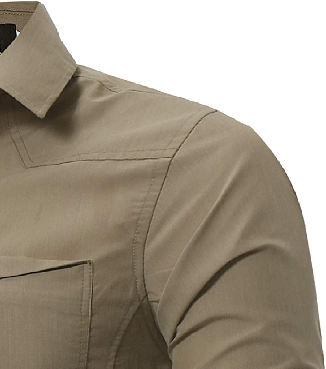 Zimaes-Men Office Comfort Solid Business Long-Sleeved Collared Dress Shirts
