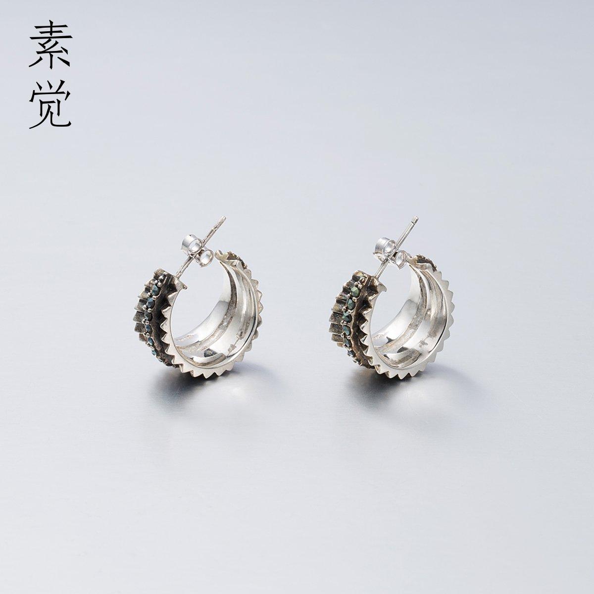 BAGEHAN Das Design von 925 alten Lady Silber Hand eingelegten Ohrringe Ohrschmuck Ohrringe Retro Ohrstecker Retro Stud Earrings