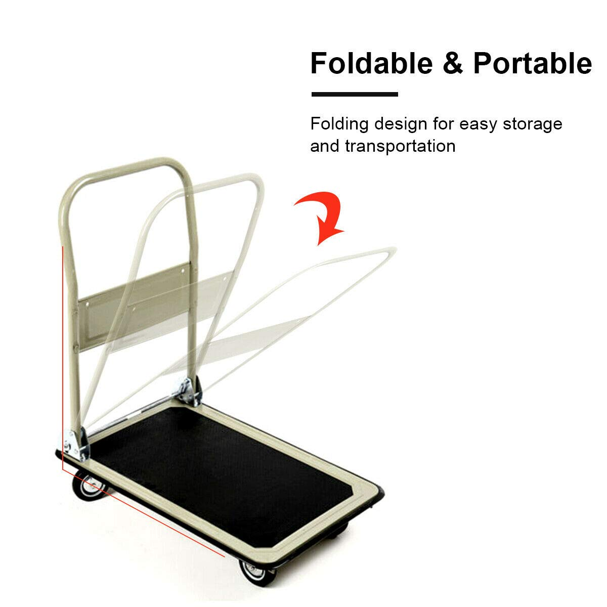 Gray 330lbs Platform Cart Folding Foldable Dolly Push Hand Truck Moving Warehouse Transport Heavy Large Loads(U.S. Stock) by Heize best price (Image #6)