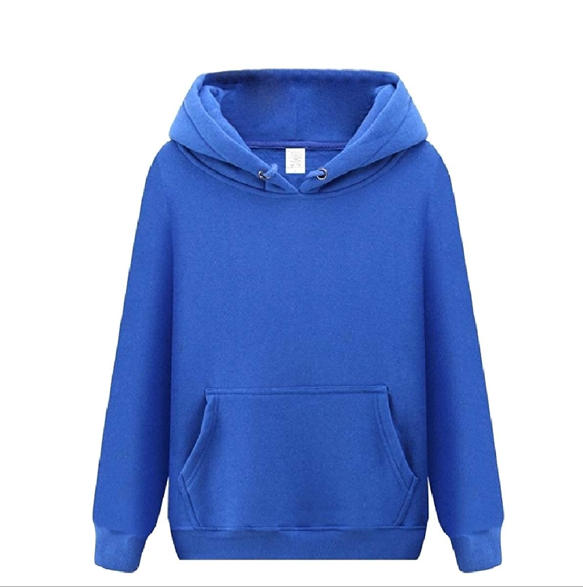 YUNY Mens with Pockets Pea Coat Solid Color Thickened Hoodies Sweater Sapphire Blue XL