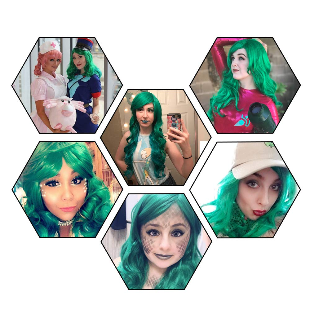 netgo Women's Green Wig Long Curly Hair Heat Resistant Fiber Wigs Harajuku Lolita Style for Cosplay Halloween Party by Netgo