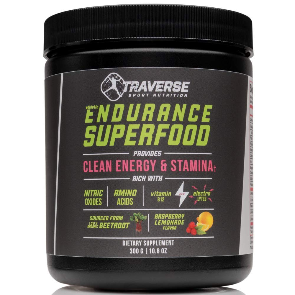 Traverse Organic Beet Root Superfood Pre-Workout Beet Juice Powder Drink Naturally Sourced from Beet Root - Athletic Endurance Superfood with Nitic Oxide Booster BCAAs Amino Acids Non-Caffeine by Traverse Sport Nutrition