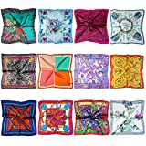 LilMents 12 Mixed Designs Small Square Satin Womens Neck Head Scarf Scarves Bundle Lot Set (Set O)