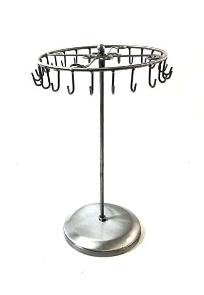 Amazoncom Antique Silver Color 24 Hooks Rotating Necklace Holder
