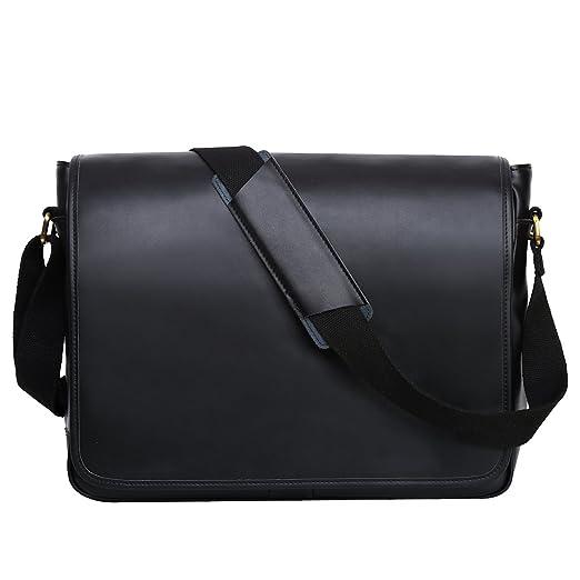 Leathario Leather Laptop Messenger Briefcase Crossover Shoulder travel Bag